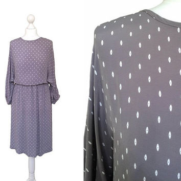 90's Grey Dress - 1990's Print Dress - Grey Midi Dress With Eye Motif