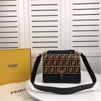 FENDI WOMEN'S NEW STYLE LEATHER KAN I HANDBAG INCLINED SHOULDER BAG