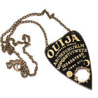 Black and Gold Ouija Planchette Necklace