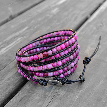 Leather Agate Bracelet Pink Agate Wrap Bracelet Beaded Bracelet Leather Wrap Bracelet 4mm Beaded Bracelet with Black Leather Cord