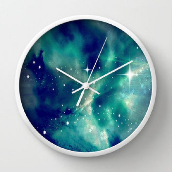 Blue, Sky, Night, Clouds, Stars, Supernova - 10 Inch Round Wall Clock - kitchen, nursery, childrens room, new home, fun -Made To Order-SN#83