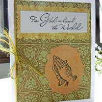 Easter Card with Praying Hands Religious Handmade Card with Blessed Easter Sentiment