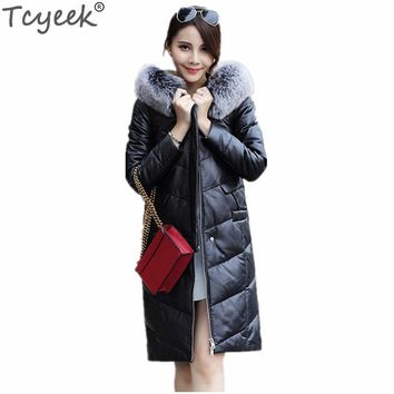 Tcyeek Warm Fashion Women's Leather Jacket Faux Sheepskin Coat Casaco Feminino Inverno Black White Outerwear Winter Jackets