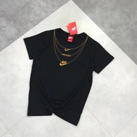 """""""Nike"""" Unisex Casual Simple Retro Necklace Embroidery Letter Couple Short Sleeve T-shirt Top Tee"""