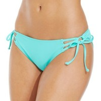 California Waves Laser-Cut Flounce Bikini Top & Side-Tie Bottom | macys.com
