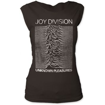 Joy Division Vintage Unknown Pleasures T-shirt - Joy Division Unknown Pleasures Album Cover Artwork. Women's Black Sleeveless Shirt