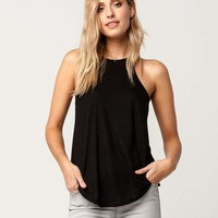 BOZZOLO Black High Neck Womens Tank