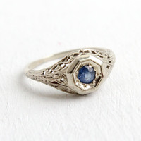 Antique 14k White Gold Art Deco Sapphire Ring - Size 5 1/2 1920s 1930s Filigree Solitaire Engagement Fine Wedding Jewelry