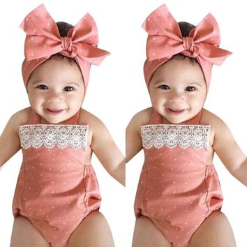 2017 Baby girls romper with lace and Headband Clothes Outfit