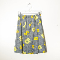 Vintage Sunflower Skirt | 70s Skirt 80s Skirt Romantic Floral Print Skirt High Waisted Skirt Midi Skirt Festival Boho Novelty Print Daisy