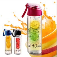 AIHOME 800ml Cycling Sport Fruit Infusing Infuser Water Lemon Cup Juice Bicycle Health Eco-Friendly BPA Detox Bottle Flip Lid