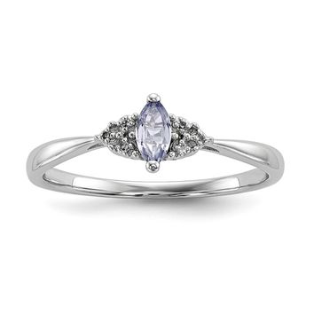 925 Sterling Silver Rhodium-Plated Diamond and Tanzanite Ring