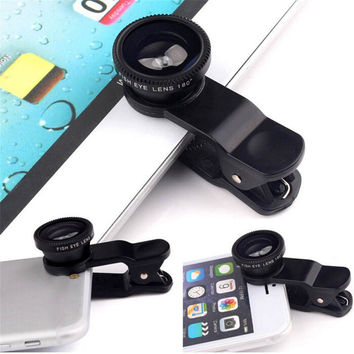 3 in1 Mobile Phone Camera Lens Kit Fish Eye Lens + 2 in1 Macro Lens& Super Wide Angle Lens with Black Universal Phone Clip