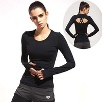LMFYN6 New Autumn Women Black long Sleeve Sports T Shirt  Fitness Gym Running shirt  Quick Dry Yoga Shirts G-062