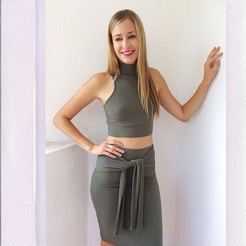 Play Time Ribbed Skirt- Olive