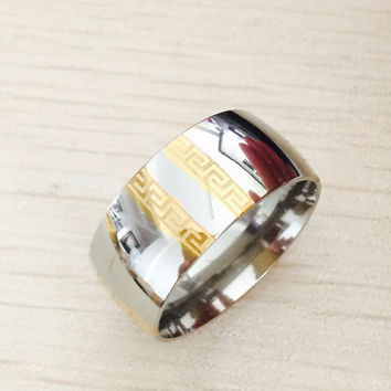 Large Luxury Exaggerated 8mm Greek Key gold silver rings men women 316L Titanium stainless steel men wedding wide Rings