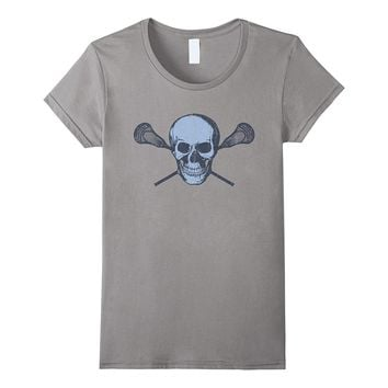 Lacrosse Skull T Shirt - Cool Light Blue Lax Tee