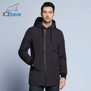 ICebear new al men's coat clothing fashion man jacket diagonal placket hooded design high quality clothing MWC18031D