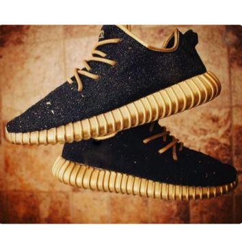 """Fashion """"Adidas"""" Yeezy Boost Solid color Leisure Sports shoes Black golden soles"""