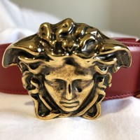 Versace Red Leather Belt with Raised Medusa Head Buckle DCU4140 Size 105