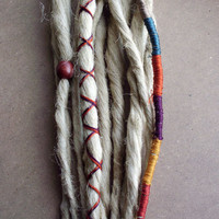 Custom Dreads Hair Wraps & Beads Bohemian Hippie Dreadlocks Blonde Tribal Falls Synthetic Boho Colored Extensions