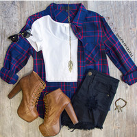 Beth Plaid Top - Navy