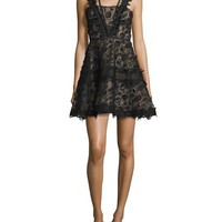 Alexis Mindy Sleeveless Embroidered Lace A-Line Dress, Black