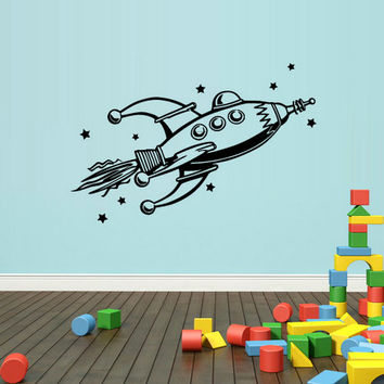 rvz1340 Wall Decal Vinyl Sticker Decals Kids Nursery Rocket Space Stars