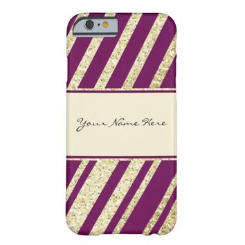 Modern Royal Purple and Gold Diagonal Stripes Barely There iPhone 6 Case