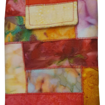 Nook or Kindle Fire Ipad Mini Sleeve in Warm Toned Batik Fabrics Back to School