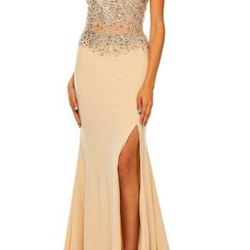 Fitted Illusion prom dress with slit  105-605