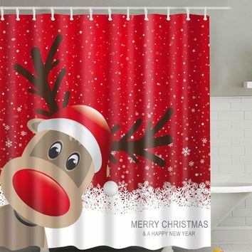 Christmas Moose Shower Curtain With 12 Hooks