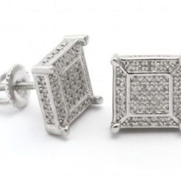 King Ice Sterling Silver Squared 3D Diamond Earrings
