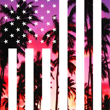 American Flag California Palm Trees Art Print by Blonde Design Studio