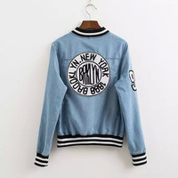 Denim Logo Patch Back Button Baseball Jacket