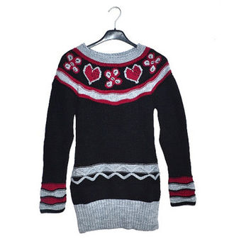 Long Heart Tunic Sweater Black Womens Pullover Knitwear Chunky Knit Red Grey Gray