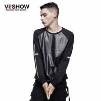 VIISHOW Brand New fashion Faux leather patchwork casual men's clothing sports hoodies pullover cross printed hip hop sweatshirt