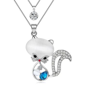 Bonsny Statement Crystal Cat Necklaces Pendant Rhinestone Alloy Chain Collar Choker Jewelry For Women Fashion Girl Accessories