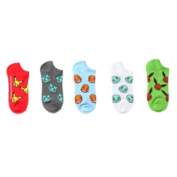 Pokemon Character No-Show Socks 5 Pair