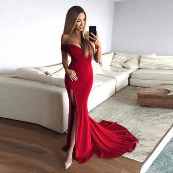 Off The Shoulder Prom Dress Red Mermaid Formal Evening Gown With Side Slit
