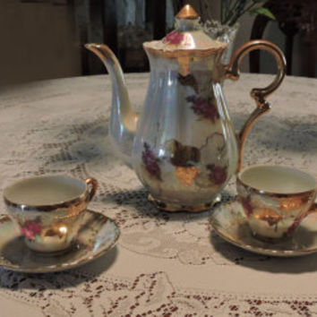 Vintage Sterling China Japan Porcelain Tea Set Tea Pot Four Matching Cups Saucers Beautiful Iridescent  Colors Deep Pink Roses Gold Trimmed