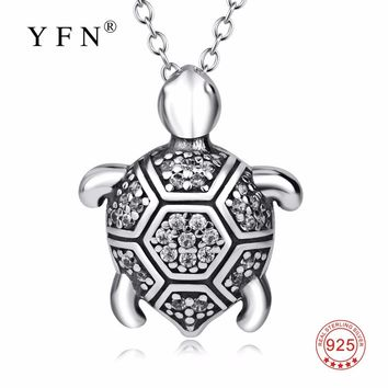GNX14444 YFN Genuine 925 Sterling Silver Turtle Necklace Vintage Tortoise Crystal Jewelry Fashion Pendants Necklaces For Women