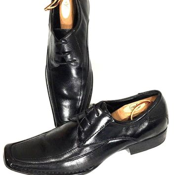 Steve Madden Buff Oxford Dress Shoes Square Toe Black Leather Men's Size 10 - Preowned