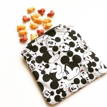 Black and White Mickey FACES Snack Bag