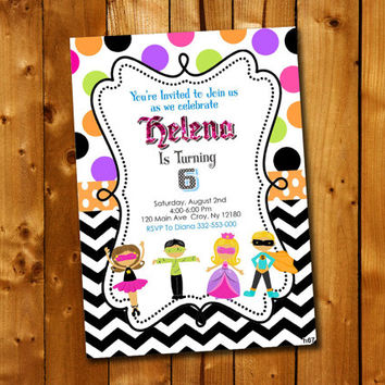 Superhero Princess, Birthday Invitation, Birthday Party for little boy and little girl