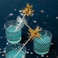 50 Gold or Silver Tinsel Drink Stirrers