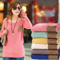 Women Sweater Solid Leather Patch Winter Knitted Pullovers Casual wears long sleeve sweaters = 1946101700