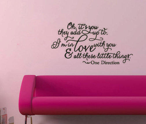 one direction little things vinyl wall from remarkablewalls on. Black Bedroom Furniture Sets. Home Design Ideas