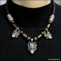 Three Viking Tribal Wolves Leather Cord and Bead Combination Necklace
