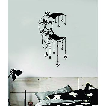 Floral Moon V2 Art Wall Decal Sticker Vinyl Room Bedroom Decor Teen Space Geometric Dreamcatcher Boho Tattoo Flowers Girls